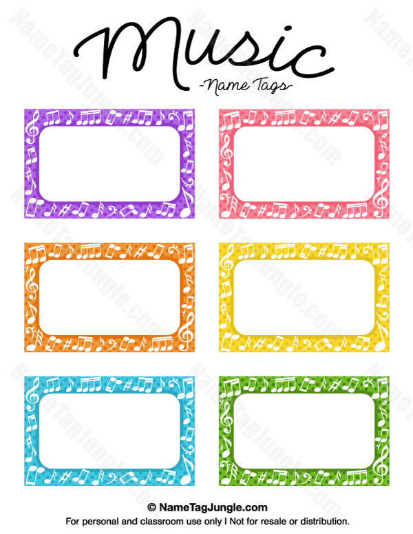 Printable Name Tag Template Free Printable Music Name Tags the Template Can Also Be