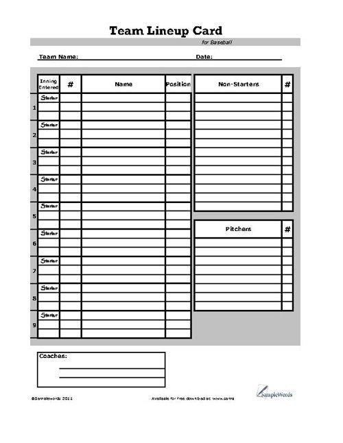 Printable softball Lineup Cards Baseball Lineup Card Sports