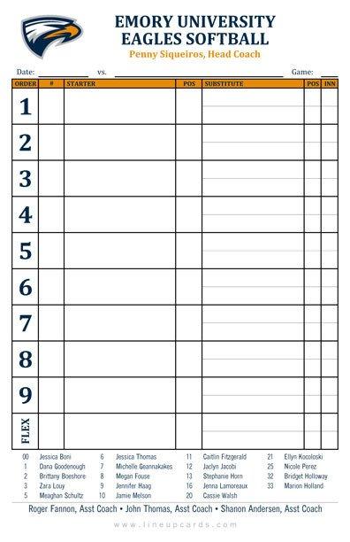 Printable softball Lineup Cards Custom College softball Lineup Cards