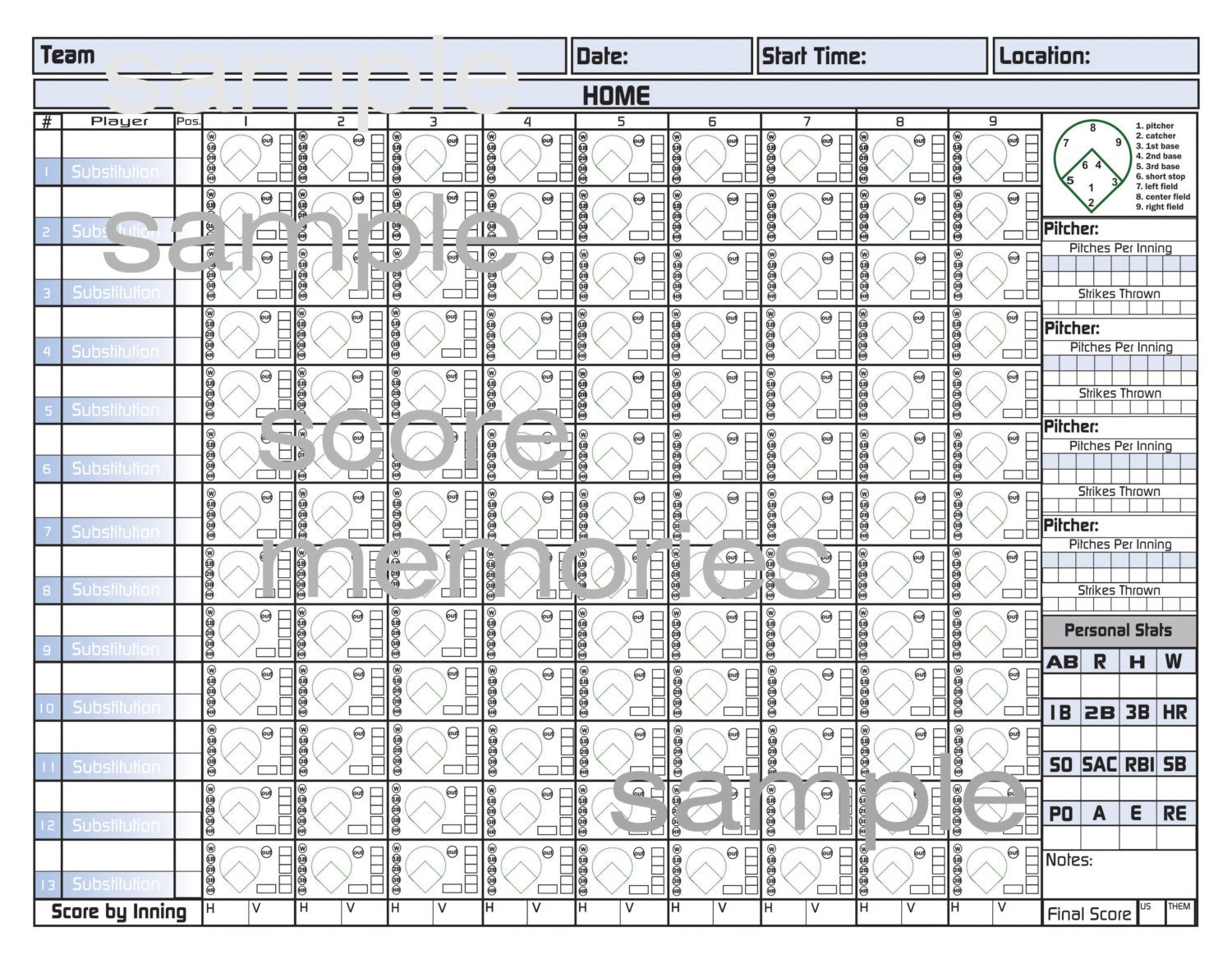 Printable softball Score Sheet Printable Baseball or softball Score Sheets