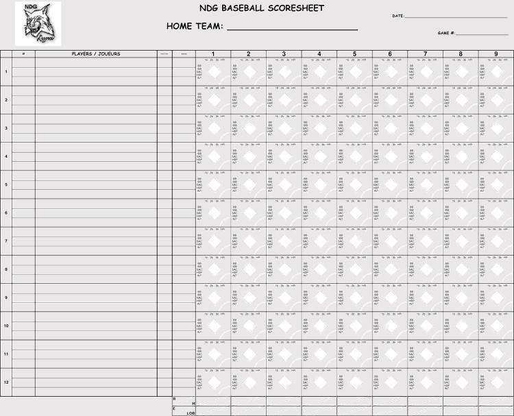 Printable softball Score Sheet Printable Baseball Scorecards Scoresheets Pdf