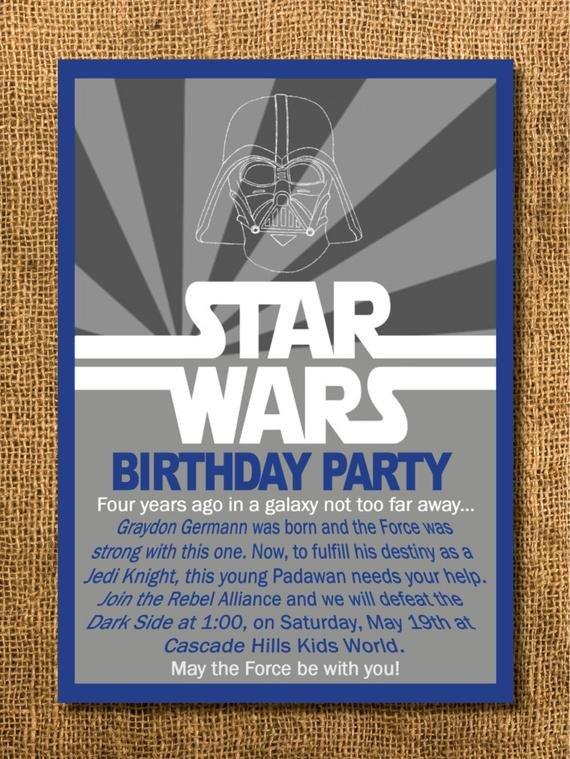 Printable Star Wars Invitation Star Wars Birthday Invitation Printable by Graysgraphicdesigns
