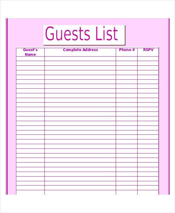 Wedding Guest List Template 9 Free Word Excel PDF
