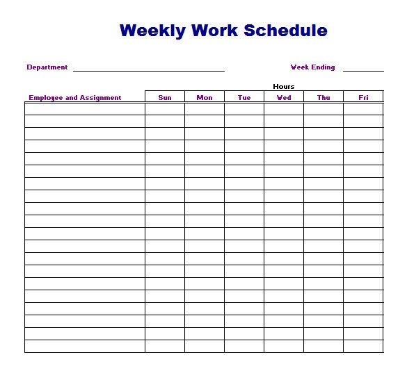 Printable Weekly Schedule Template Weekly Work Schedule Template 8 Free Word Excel Pdf