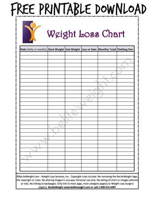 Printable Weight Loss Chart Best 25 Weight Loss Chart Ideas On Pinterest