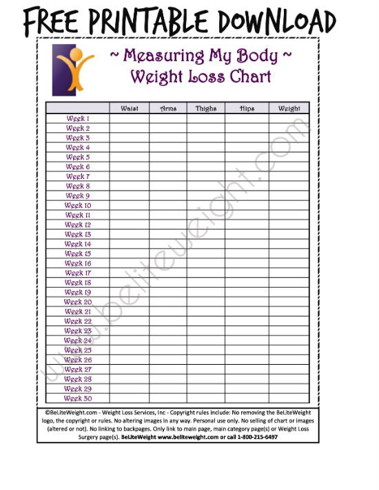Printable Weight Loss Chart Keeping Track Your Weight Loss Tips & Free Printable