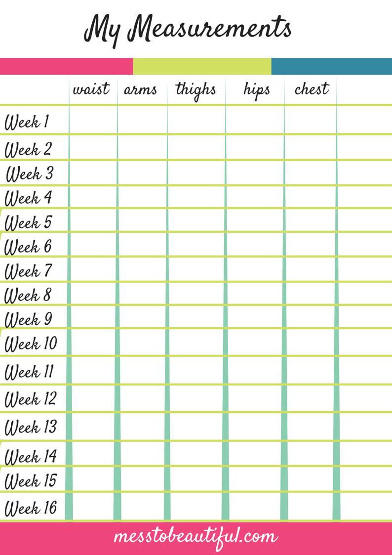 Printable Weight Loss Chart Work Zone Mess to Beautiful Chiro