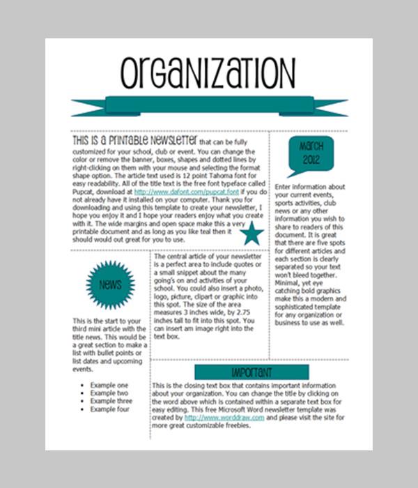 Word Newsletter Template – 31 Free Printable Microsoft
