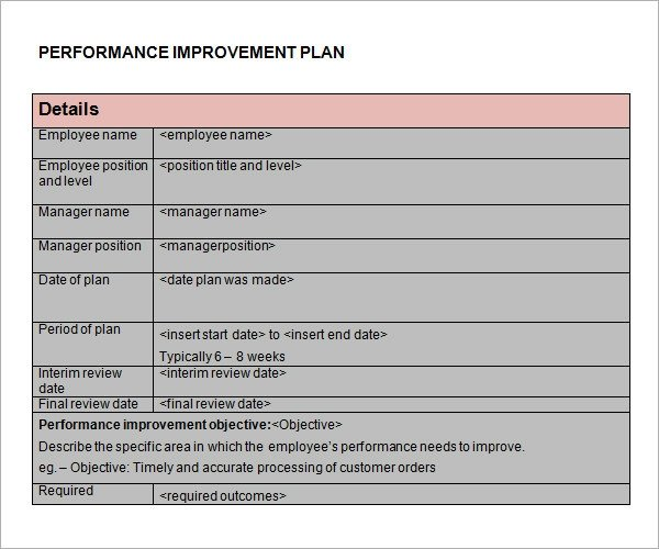 Process Improvement Plan Templates Performance Improvement Plan Template 14 Download