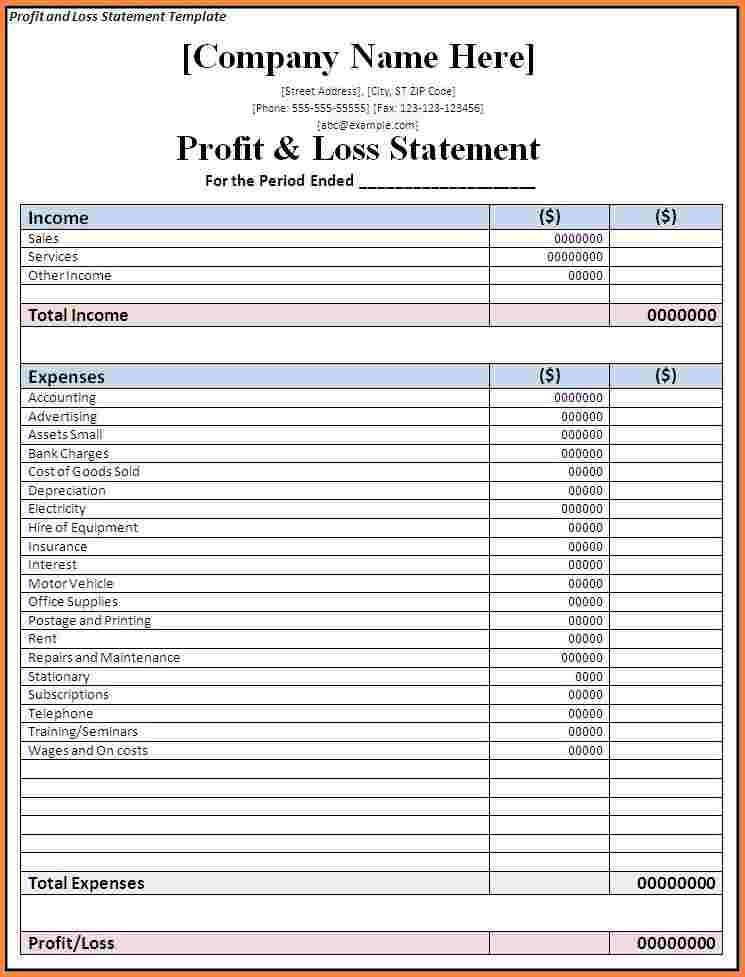 Profit Loss Template Excel 7 Business Profit and Loss Spreadsheet