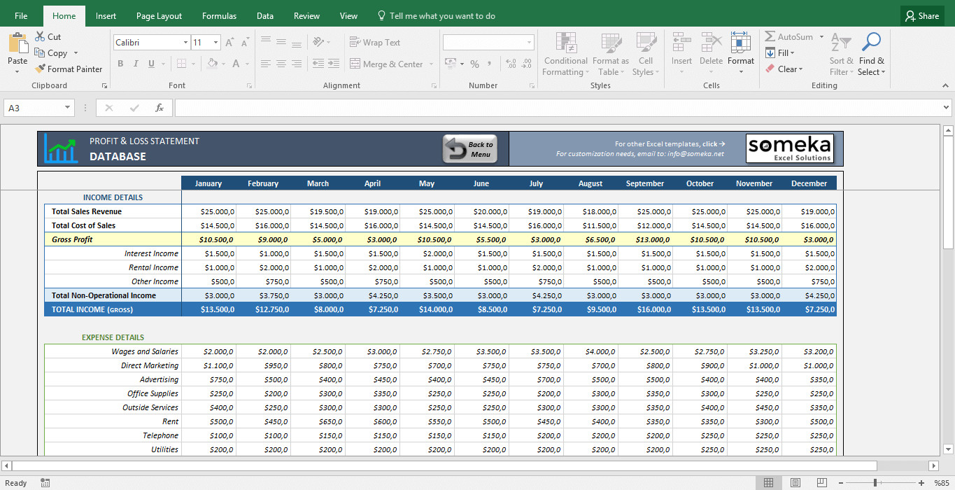 Profit Loss Template Excel Profit and Loss Statement Template Free Excel Spreadsheet