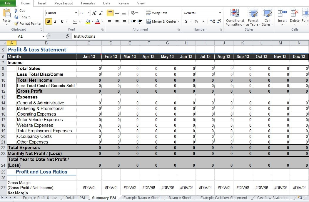 Profit Loss Template Excel Restaurant Profit and Loss Statement Template Excel