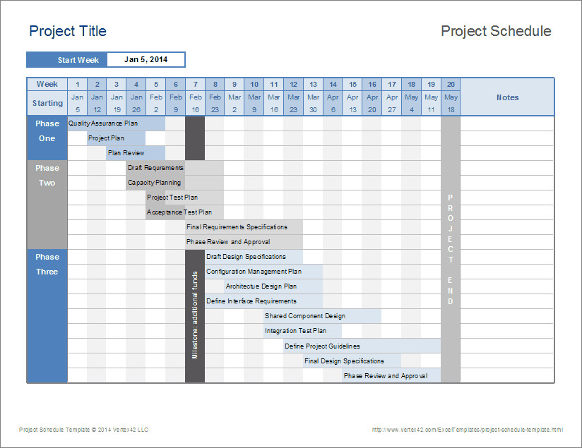 Project Management Schedule Template Project Timeline Template Excel