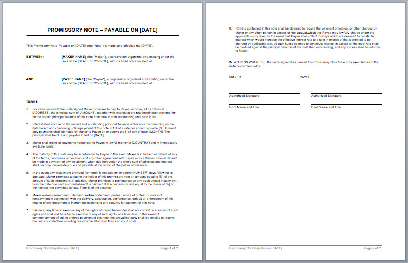 Promissory Note Template – Microsoft Word Templates