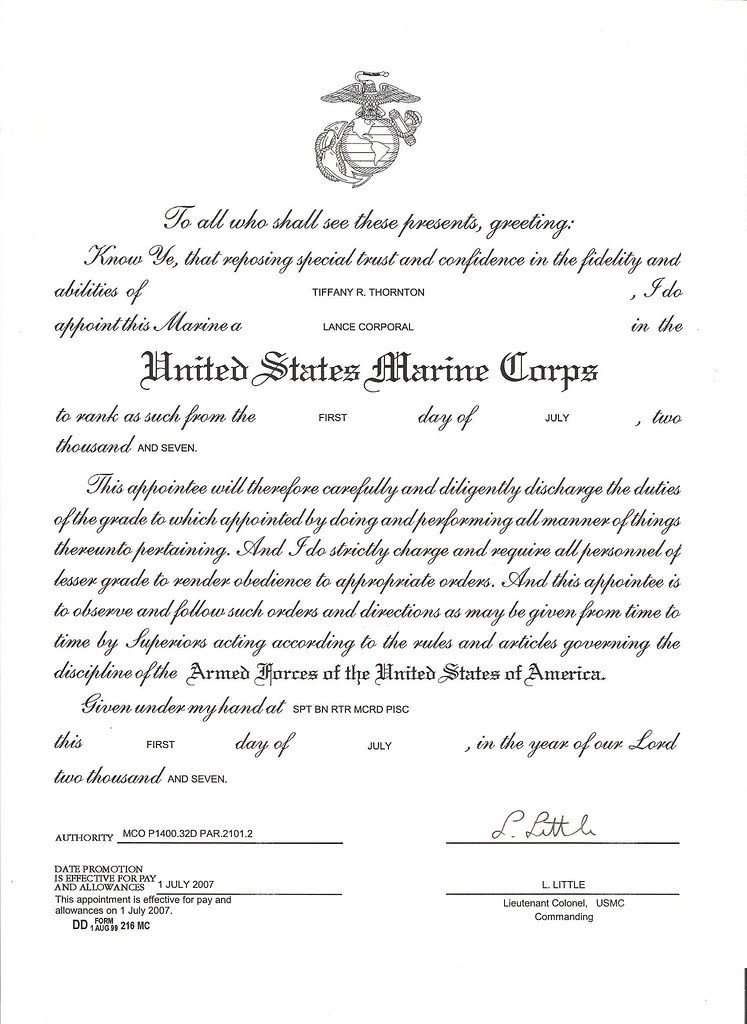 USMC LCPL Promotion Warrant for Thornton Tiffany R 001