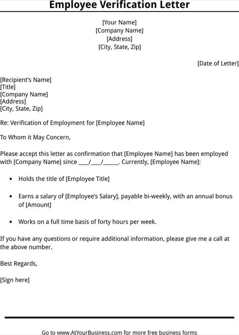 Proof Of Employment Letter Template 11 Employee Verification Letter Examples Pdf Word