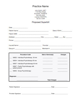 Psychotherapy Superbill Template Bo Business & Clients Package A Smart Practice