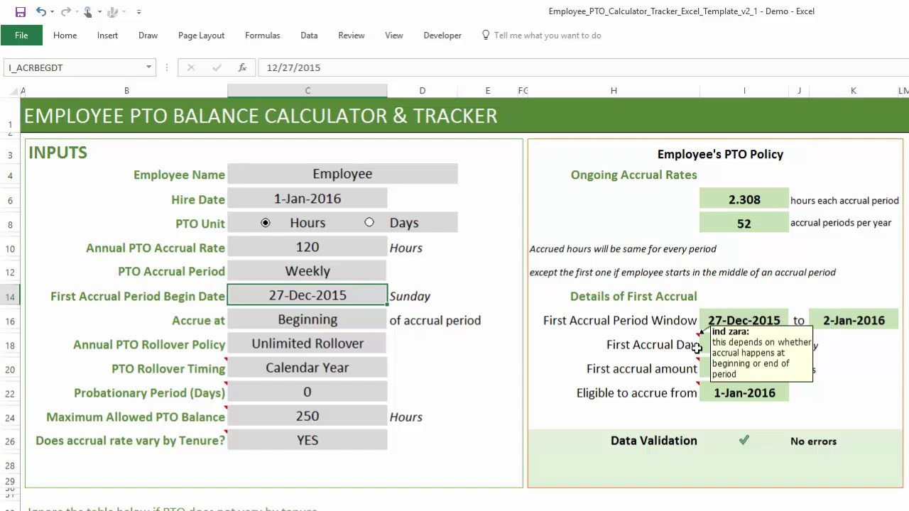 PTO Calculator Excel Template Employee PTO Tracker