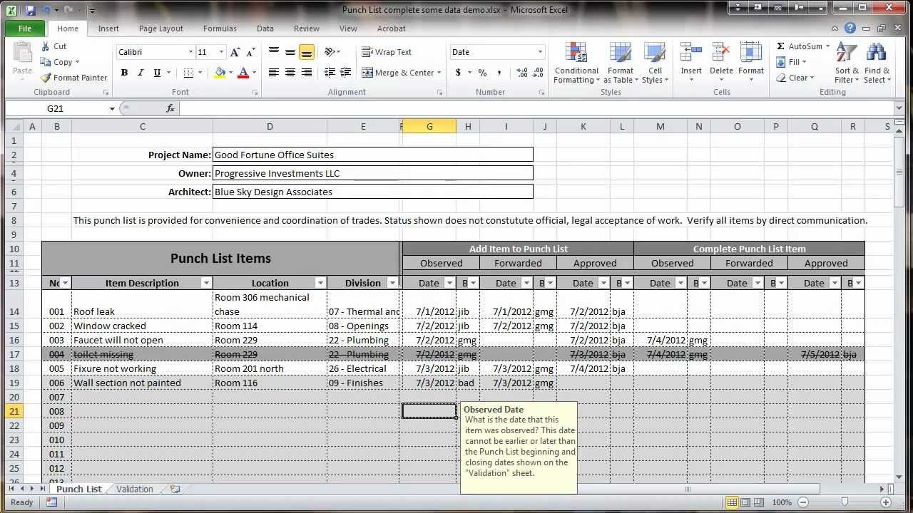 Punch List Template Excel Excel 2010 Construction Punch List Overview