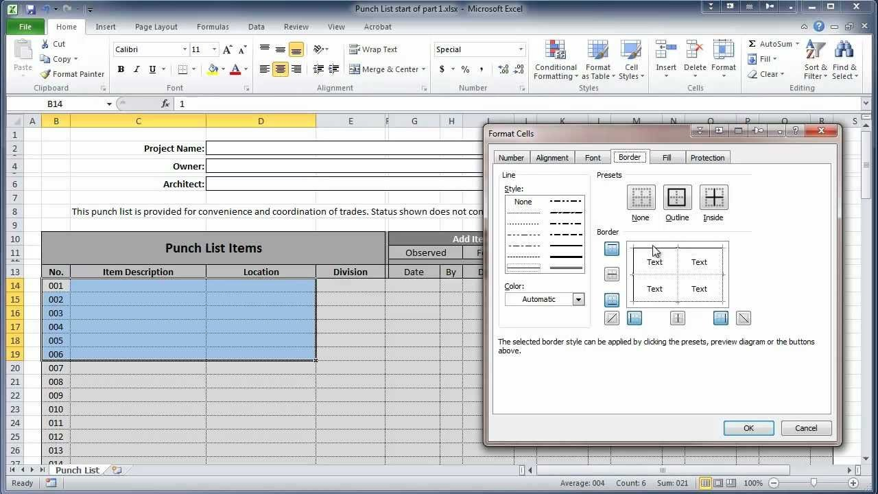 Punch List Template Excel Excel 2010 Construction Punch List Part I Create Table
