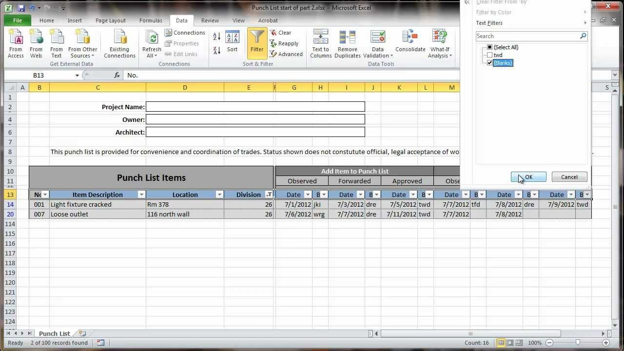 Punch List Template Excel Excel 2010 Construction Punch List Part Ii Data