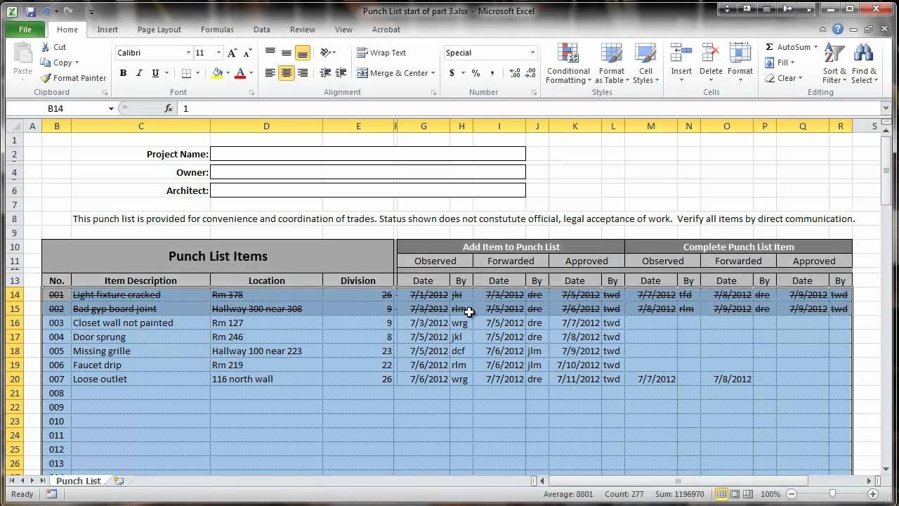 Punch List Template Excel Excel 2010 Construction Punch List Part Iii