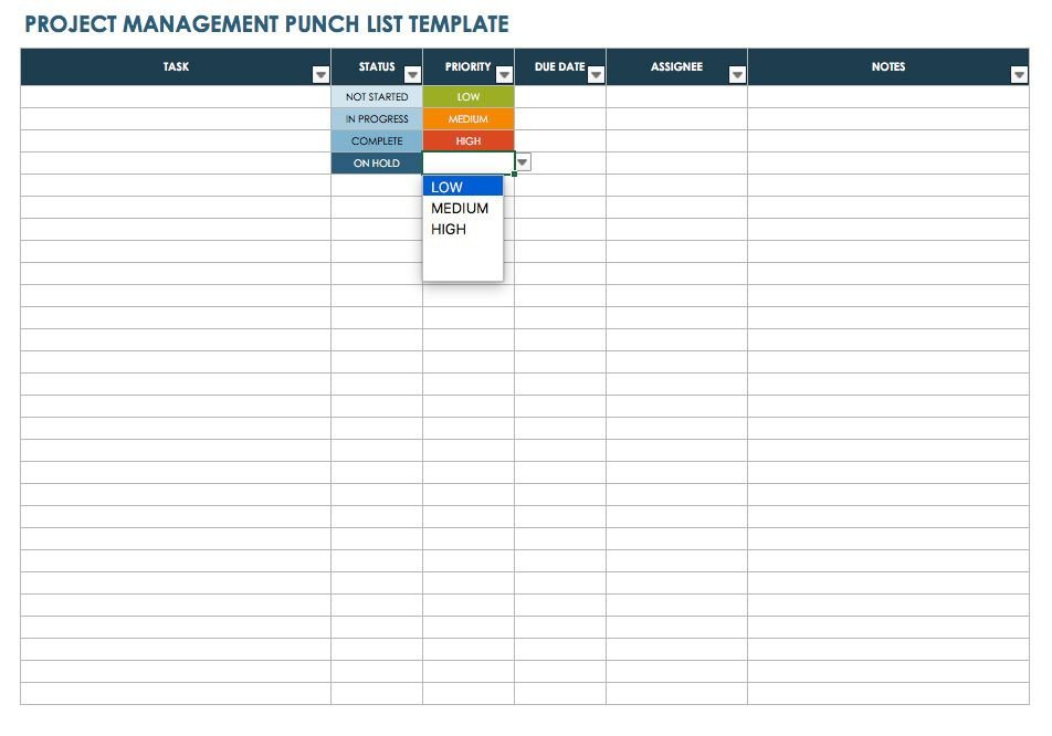 Punch List Template Excel Free Punch List Templates