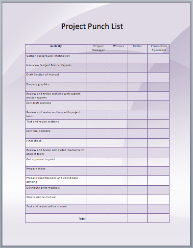 Punch List Template Excel Punch List form – Emmamcintyrephotography