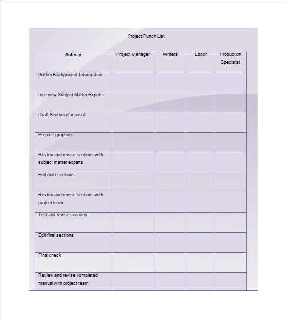 Punch List Template Excel Punch List Template