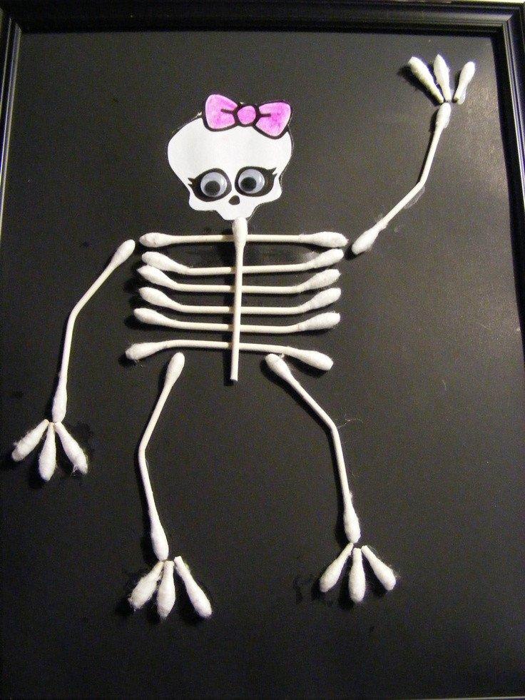 Q Tip Skeleton Head Template Finished Monster High Q Tip Skeleton