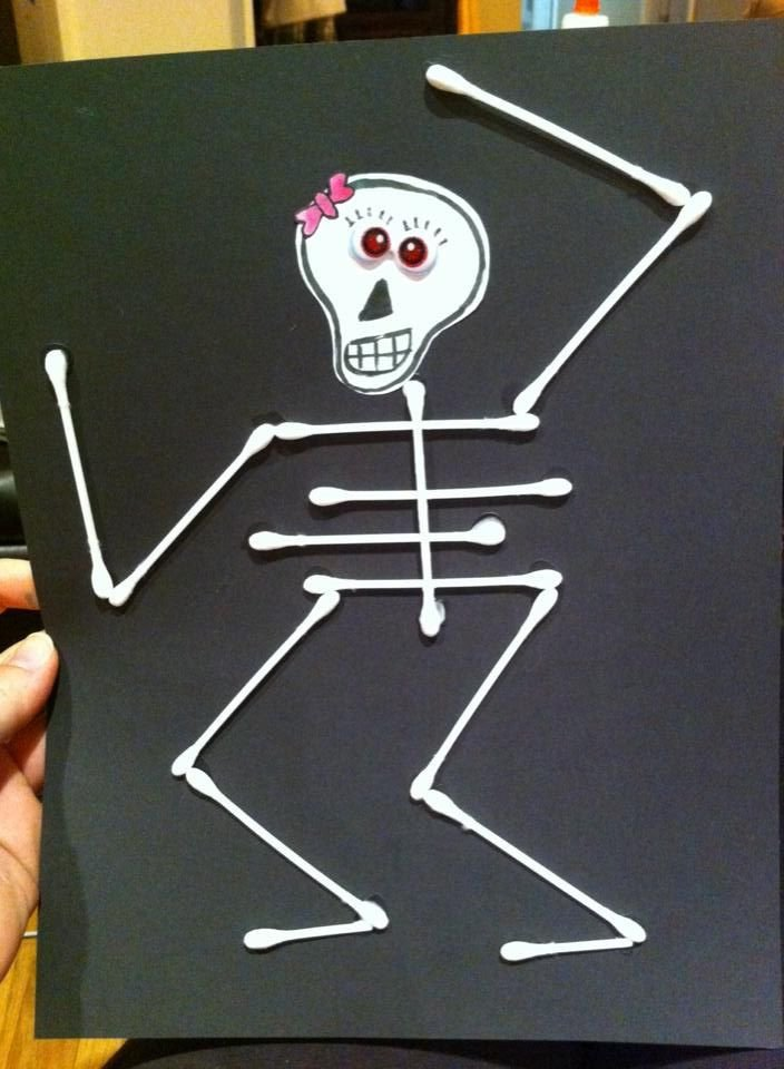 Q Tip Skeleton Head Template Fun Halloween Crafts for Kids