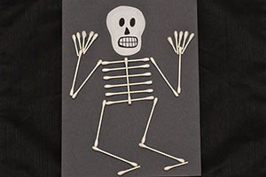 Q Tip Skeleton Head Template Halloween Party Crafts