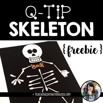 Q Tip Skeleton Head Template Happy Halloween This Q Tip Skeleton Craft Activity is