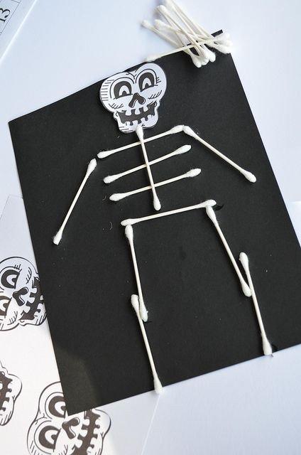 Q Tip Skeleton Head Template Q Tip Skeleton Halloween