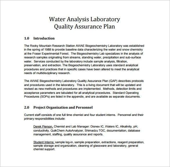 Quality assurance Plan Templates 16 Quality assurance Plan Templates Free Sample