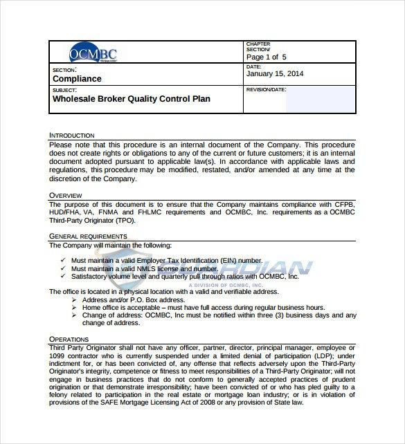 Quality Control Plans Templates 13 Quality Control Plan Templates Word Pdf Google