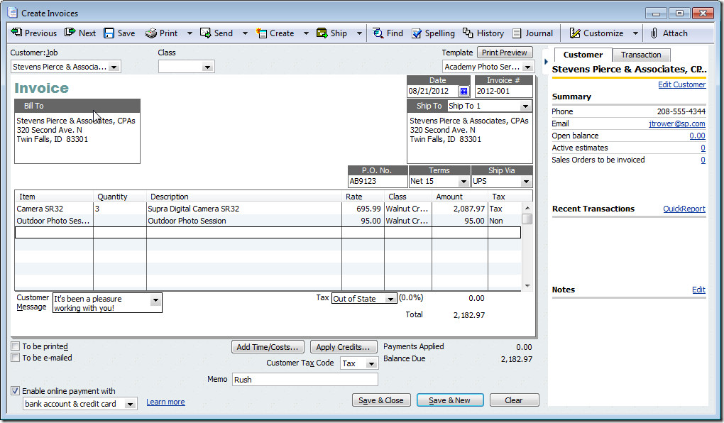 Quickbooks Check Template Word Quickbooks Invoice Templates Free