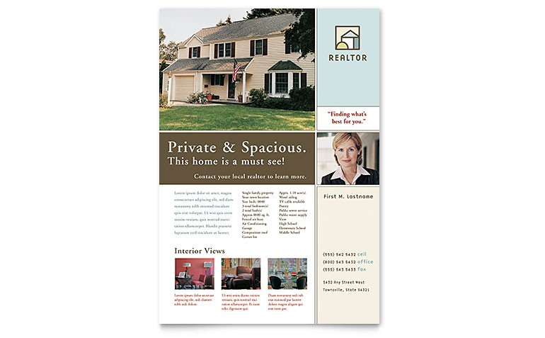 Real Estate Flyer Template Word House for Sale Real Estate Flyer Template Word & Publisher