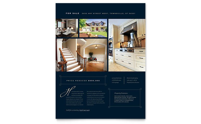 Real Estate Flyer Template Word Luxury Home Real Estate Flyer Template Word & Publisher
