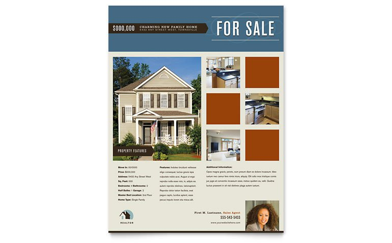 Real Estate Flyer Template Word Residential Realtor Flyer Template Word & Publisher