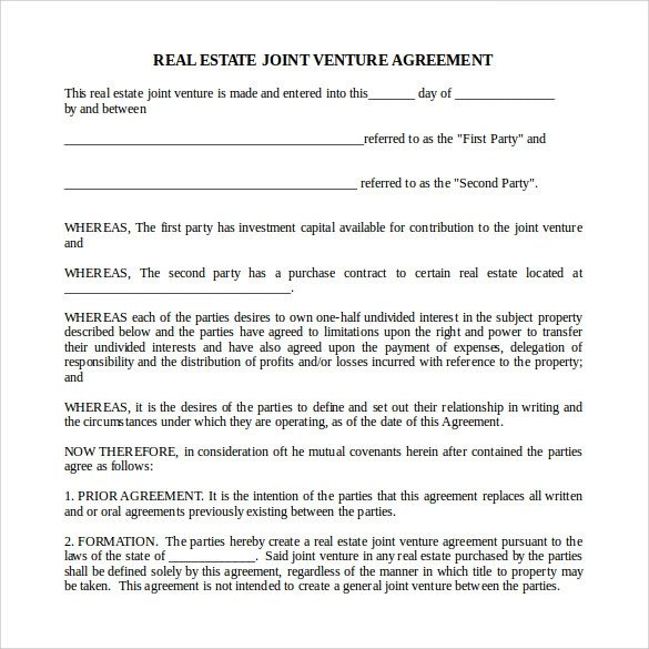 Sample Real Estate Partnership Agreement 13 Free
