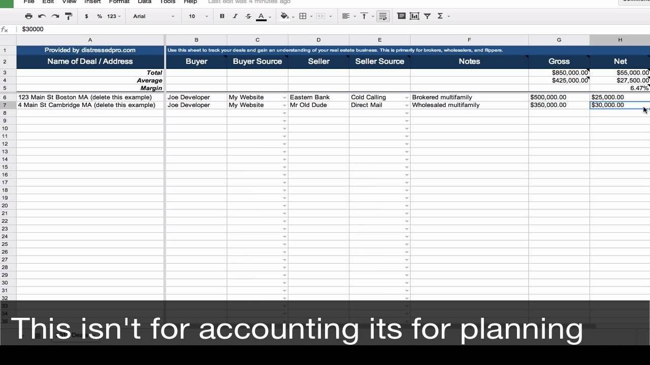 Real Estate Spreadsheet Templates Real Estate Transaction Tracker Spreadsheet Template