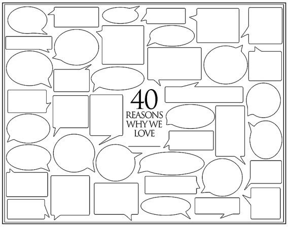 Reasons I Love You Template Personalized Birthday Present – 40 Reasons We Love You