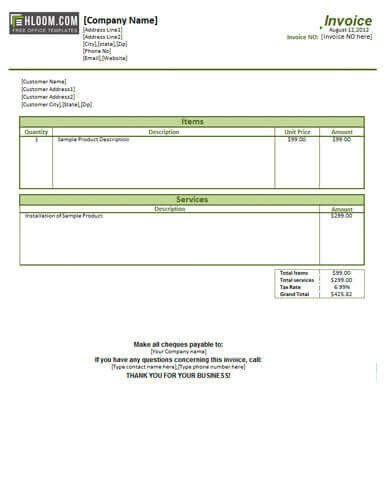 Receipt for Services Template 25 Free Service Invoice Templates [billing In Word and