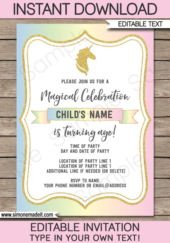 Reception Invitation Template Free Unicorn Party Invitations Template