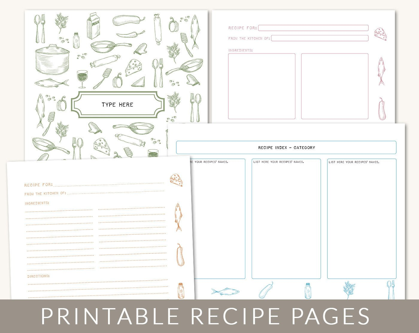 Recipe Template for Pages Diy Custom Recipe Binder Cookbook Printable Pages 40