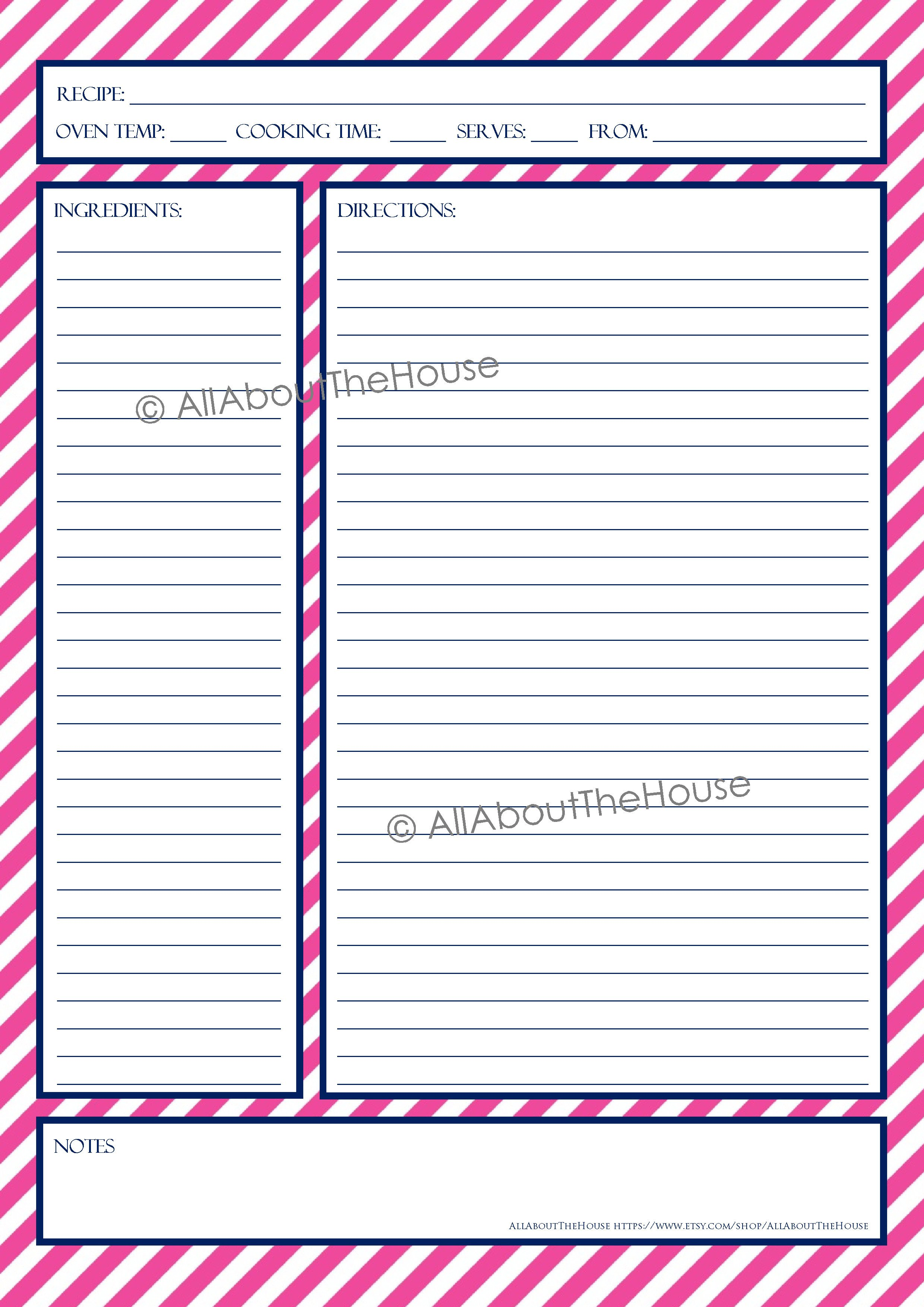 Recipe Template for Pages Recipe Template