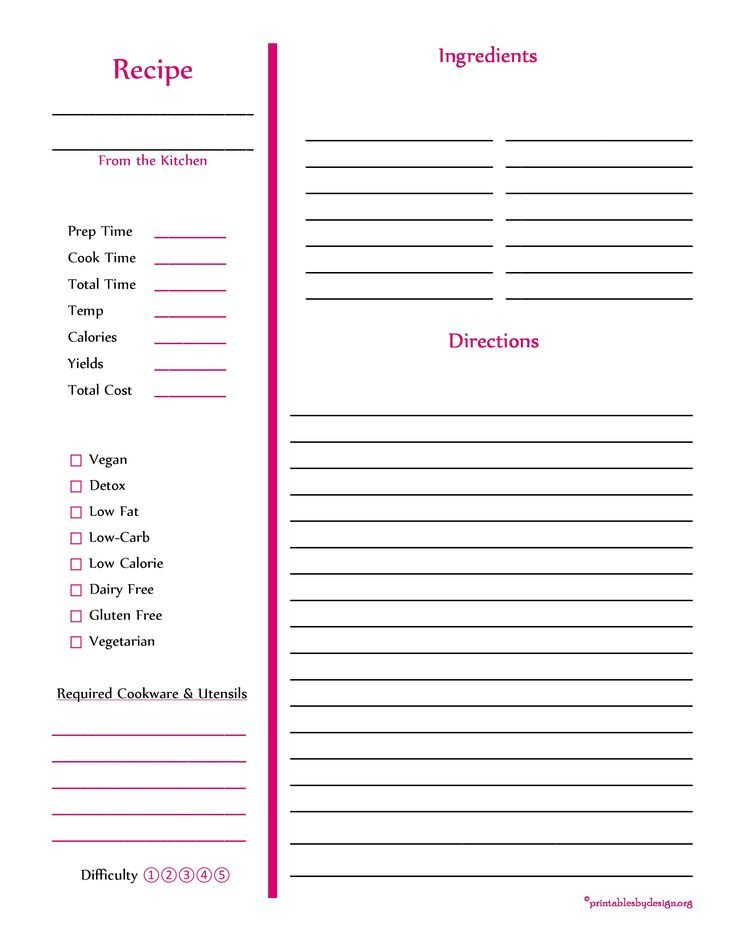 Recipe Template for Pages Red Recipe Card Full Page Cooking Stuff