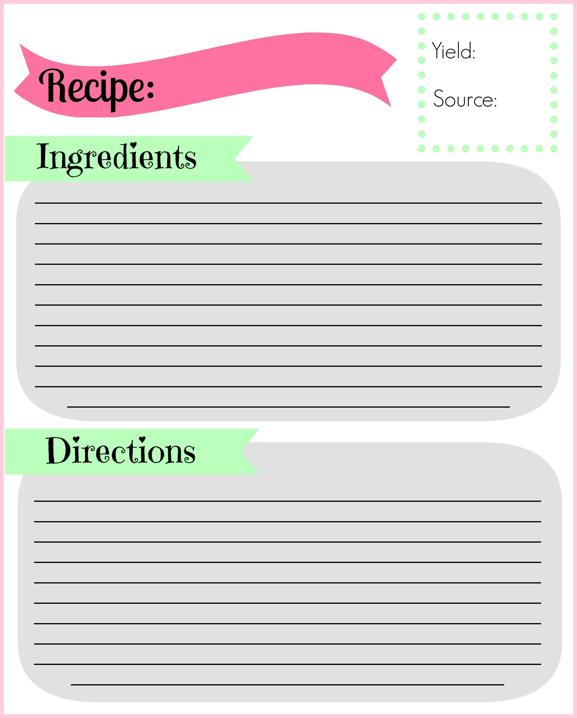 Recipe Template for Word Diy Recipe Binder
