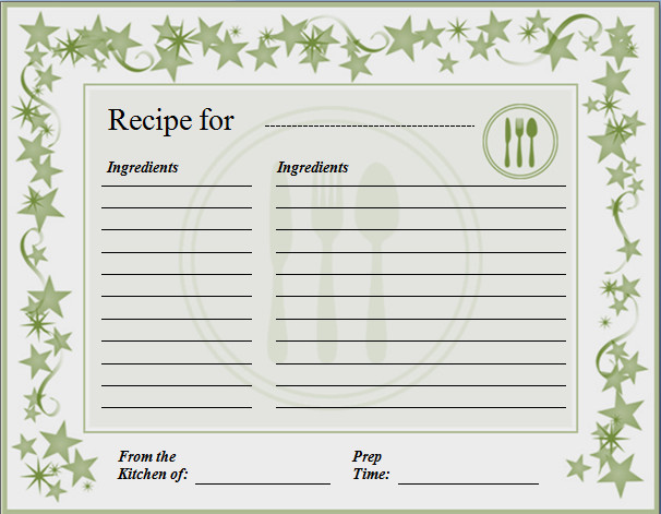 Recipe Template for Word Ms Word Recipe Card Template